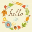 Beautiful hello card with autumn wreath — Stock Vector #53165979