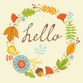 Beautiful  hello card with autumn wreath — Stock Vector