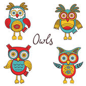 Bright owls set — Stockvektor