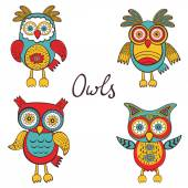 Bright owls set — Stok Vektör