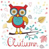 Autumn floral card with cute owl — Stok Vektör