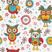 Cute colorful pattern with owls and flowers — Stock Vector