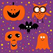 Halloween set with pumpkin, owl, bat, ghost and skull — Stockvektor