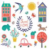 Sweet home colorful set — Vector de stock