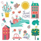 Cute home sweet home collection — Vector de stock