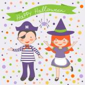 Happy Halloween kids couple — Stockvector