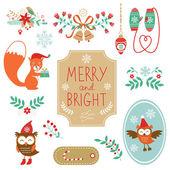 Cute collection of Christmas decorative elments — Stock Vector