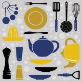 Kitchen collection retro style — Stock Vector