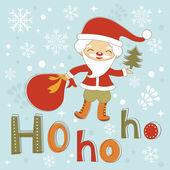 Hohoho Santa cute Christmas card — Stock Vector