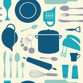 Padrão de cozinha sem emenda — Vetor de Stock