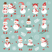 Cute snowmen collection — Stock Vector