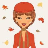 Bella giovane donna in autunno — Vettoriale Stock