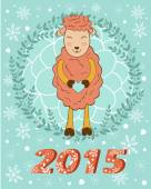 2015 card with cute smiling sheep holding heart — Stock Vector