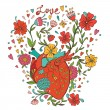 Illustration of human heart with beautiful flowers growing out of it — Stock Vector #60398765