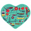 Travel concept card. Illustration of love for Lisbon - heart with vector icons. — Stock Vector #60399197