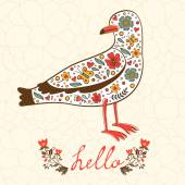 Elegant hello card with flying seagull — Stockvektor