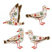 Beautiful collection of floral seagulls — Stock Vector