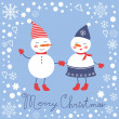 Beautiful Christmas card with  two frosties holding hands — Stock Vector #60401301