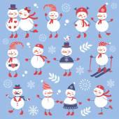 A cute snowmen seamless collection — Stock Vector