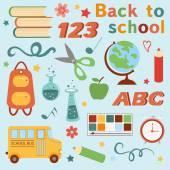 Colorful back to school set — 图库矢量图片