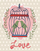 Beautiful card with birds in cage — Stock Vector