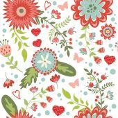 Hermoso patrón floral transparente — Vector de stock