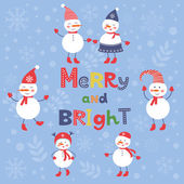 A cute snowmen card for merry and bright Christmas — Stock Vector