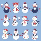 Cute snowmen collection — Stock Vector