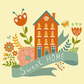 Home sweet home concept illustartion with house, ribbon and flowers — Stock Vector