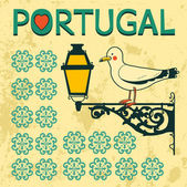 Concept card with tipical portuguese lantern and seagull — Stock Vector