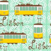 Colorful seamless pattern with tipical Lisbon tram — Stock Vector