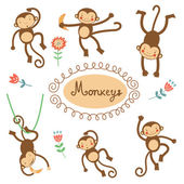Cute funny monkeys collection — Stock Vector