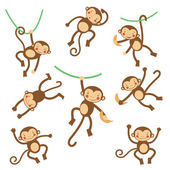 Cute funny monkeys — Vettoriale Stock
