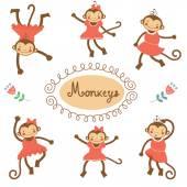 Cute funny monkeys — Stock Vector