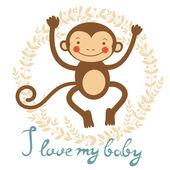 Kocham moje dziecko karta z ładny monekey — Wektor stockowy
