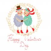 Happy valentines day with cute sheeps couple — Vettoriale Stock