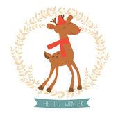 Hello winter card with cute reindeer — Vetor de Stock
