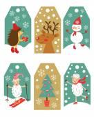 Colorful Christmas gift tags — Stock Vector
