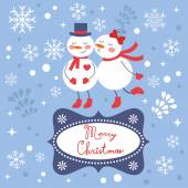 Beautiful Christmas card with two frosties kissing — Stock vektor