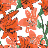 Elegant  lilly flowers pattern — Stockvektor