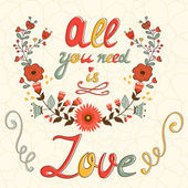 All you need is love concept card — Vettoriale Stock