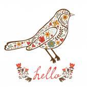 Concept hello card with floral decorative bird — Stock Vector