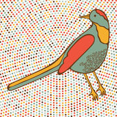 Colorful bird on dotted background — Stock Vector