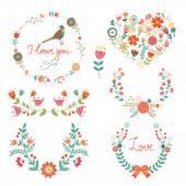 Elegant  floral graphic elements — Stock Vector