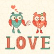 Cute card with two owls in love — Stock Vector #64787145