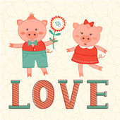 Cute card with two pigs in love — Stock Vector