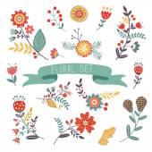 Floral decorative elements set — Stock Vector