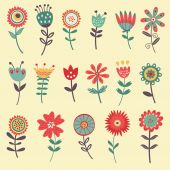 Beautiful collection of flowers — Stockvector