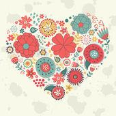 Elegante kaart met florale hart — Stockvector