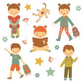 Collection of different kids — Stock Vector